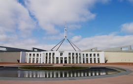 New Parliament House in Canberra with clouds