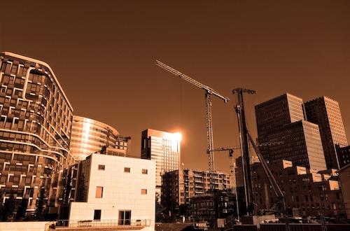 City landscape with crane