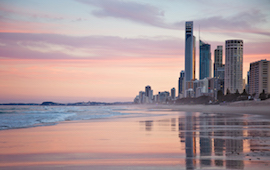 Beach at the Gold Coast at sunset